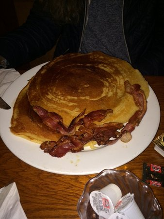 Earth Dog Cafe: That two pancakes, both about ten inches across.