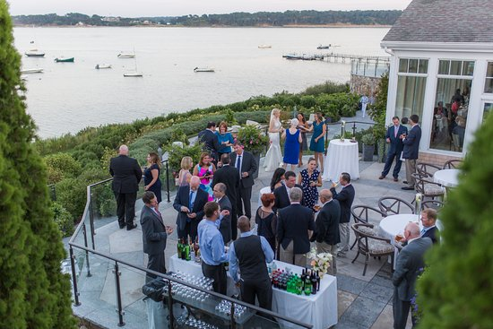 Harwich, MA: Ceremony/cocktail reception on the patio for our intimate September wedding. Look at that view!!