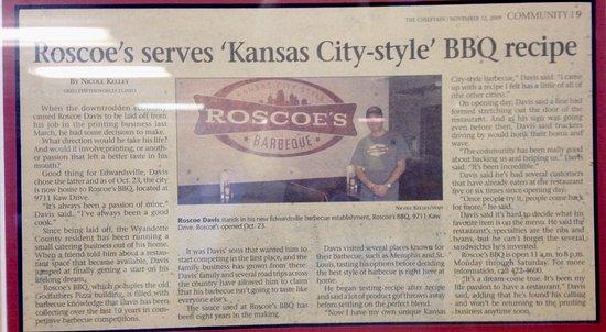 Edwardsville, KS: Roscoe's BBQ History