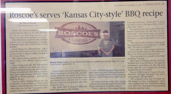 Edwardsville, แคนซัส: Roscoe's BBQ History