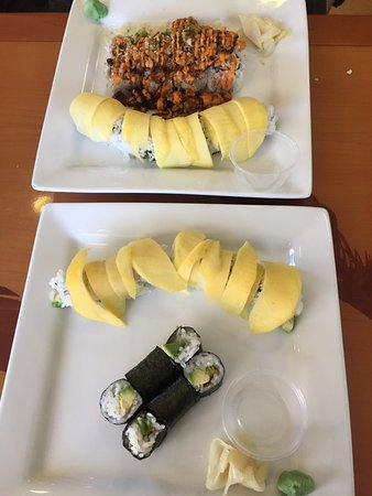 North Stonington, CT: California rolls with mango, avocado roll, dynamite roll