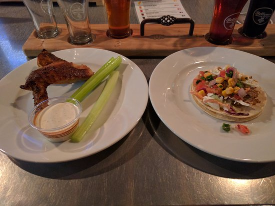 Bellevue Brewing Company: smoked wings and pork street taco