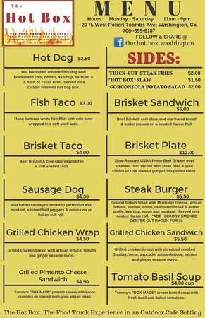 Washington, GA: HOT BOX MENU.  **SUBJECT TO CHANGE**
