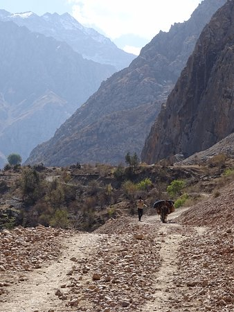 Marguzor, Tajikistan: walking on the road to the seventh lake