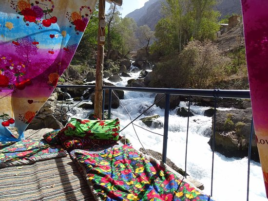 Marguzor, Tajikistan: a place for lunch in a village along a river