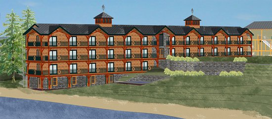 Center Harbor, Nueva Hampshire: View from Lake Winnipesaukee looking at newly renovated lodge building.