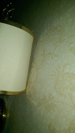 Atlanta Hotel: dirt behind bedroom light above bed.