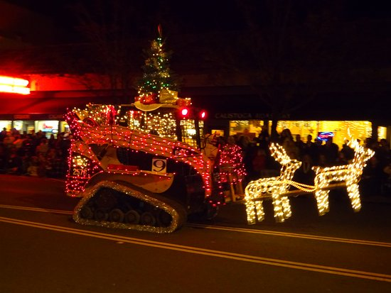 A lighted sleigh ride graces the Calistoga Tractor Parade on Lincoln Ave