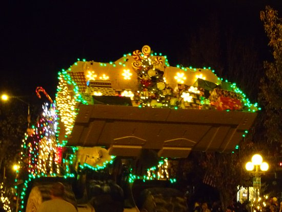 Extravagantly decorated tractor in the annual Calistoga Lighted Tractor Parade on Lincoln Ave