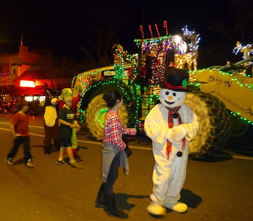 Frosty the snowman at the annual Calistoga Lighted Tractor Parade on Lincoln Ave