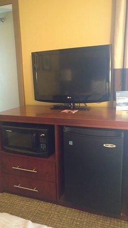Comfort Inn Elizabeth City: TV, microwave, fridge and the 2 drawers
