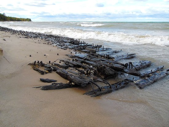 Rogers City, MI: Shipwreck on the beach