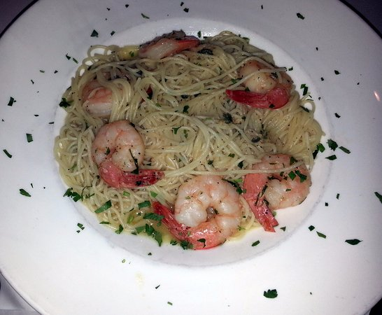 Bensenville, IL: angel hair pasta with garlic & oil and shrimp