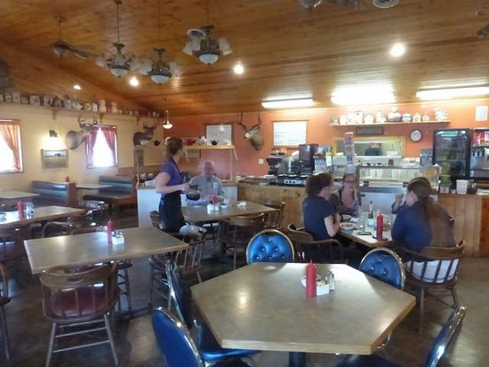 Menahga, MN: A view of the restaurant - buffet in back.