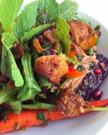 Duck, Roasted Beets, Heirloom Tomato, Pomegranate Salad