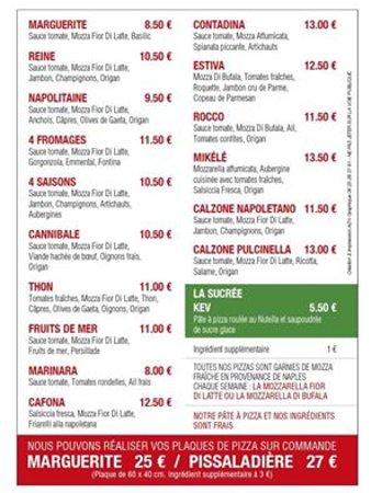 Le Rouret, France: Carte de nos pizzas
