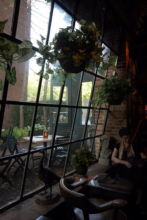 Lambertville, NJ: At the bar waiting area, nice angled window view.