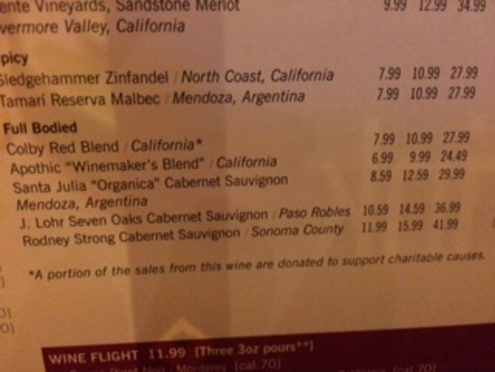 California Pizza Kitchen: Full bodied red selection