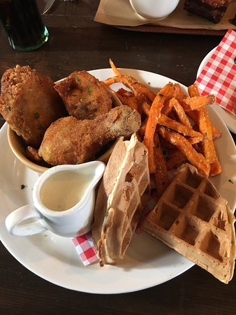 Lunch Menu Bbq Grill Chicken And Waffles And Side Of Halloumi Picture Of Hangfire Southern Kitchen Barry Tripadvisor