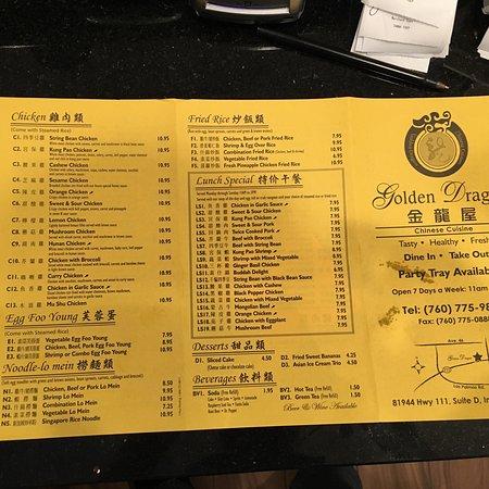 Golden Dragon Indio US Highway 111 Ste D Restaurant