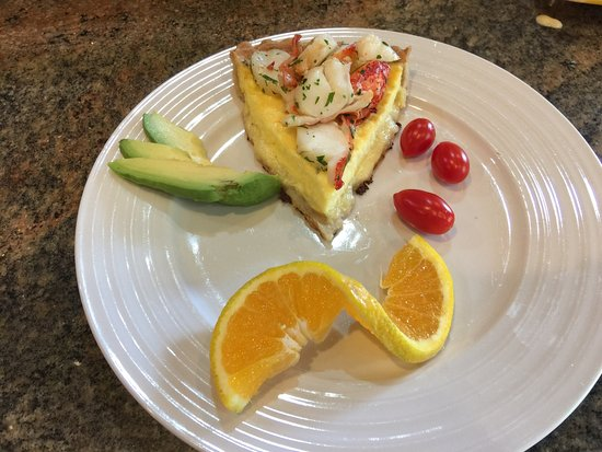 Mermaid Inn of Mystic: Quiche with fresh lobster following organic yogurt and fresh berries, homemade granola.