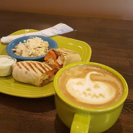 Thorp, WI: Pumpkin Pie Latte, Sweet Potato Wrap, Potato Salad. Yum!