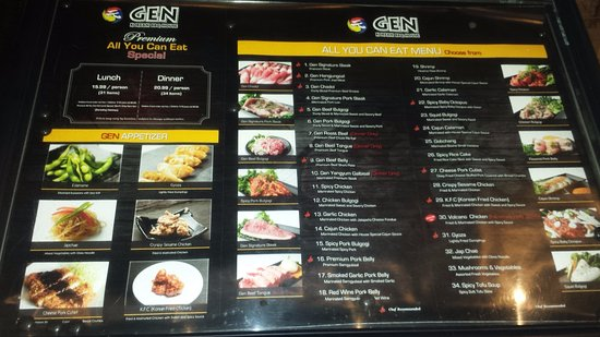 Menu at the entrance to Restaurant. - Picture of Gen Korean BBQ ...