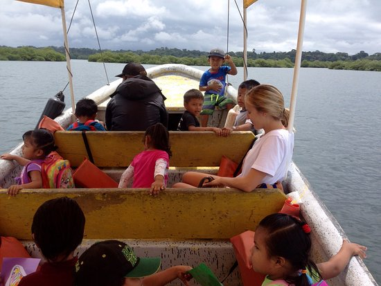 La Loma Jungle Lodge and Chocolate Farm: School Boat in the bay