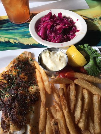 Great American Fish Co: Grilled snapper, red cabbage slaw