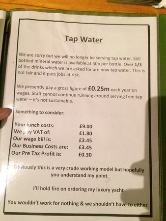 Kirkby Lonsdale, UK: Tapwater banned!!!!