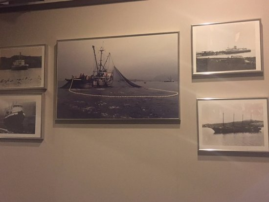 Boat pictures decorating hallway,Quarterdeck Restaurant and Pub  6555 Hardy Bay Road, Port Hardy