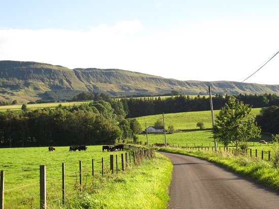 Kippen, UK: view of the road off A811 that leads up to the cottage