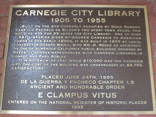 History Center and Museum of San Luis Obispo County : Carnegie City Library information plaque