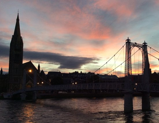 Glenuig House Bed & Breakfast : short walk to the bouncy bridge across the River Ness. Sunrise over Old Town Inverness.