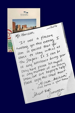 Seaport Boston Hotel: Wonderful note from Guest Rep., Stephanie!
