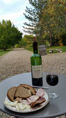 Portets, Francia: Meat, cheese, bread Chateau Beau Site wine on the terrace!