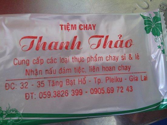 Pleiku, Vietnam: Details of a nearby vegan/vegetarian restaurant
