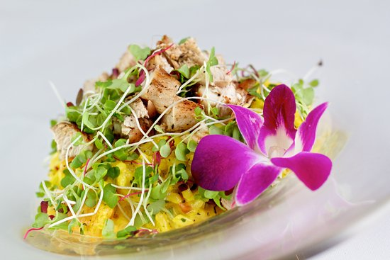 Holetown, Barbados: The Mews Main Course - Saffron scented Organic Chicken Risotto