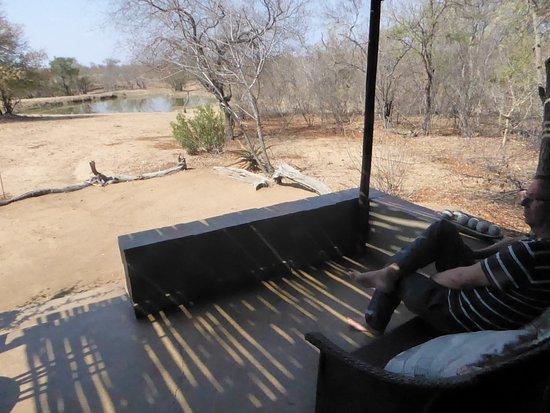Kambaku Safari Lodge: View towards the waterhole from our room