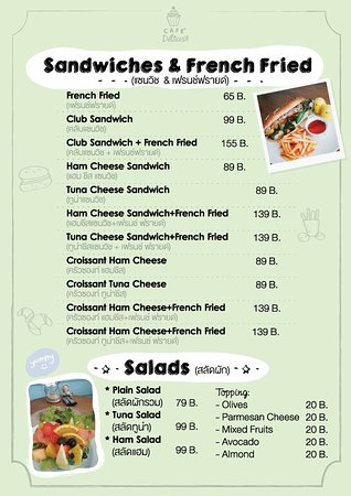 Menu Sandwiches And French Fries  Picture Of Cafe Delices Hua Hin