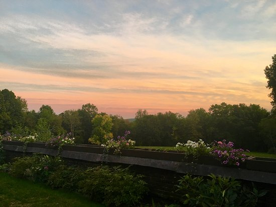 Lenox, MA: Looking off the veranda over the lawns at sunset