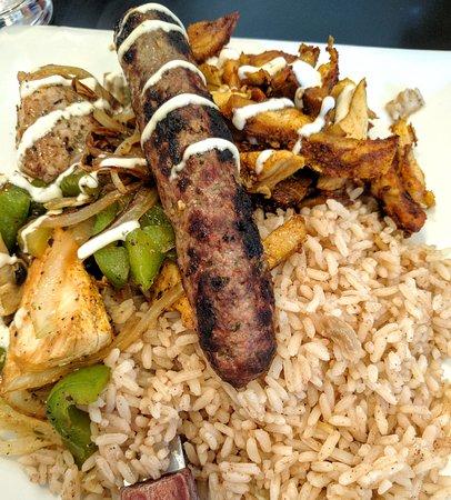 Agabi Grill House: Mixed grill (salad not shown), chicken shawarma pita