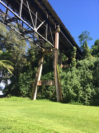 Hakalau Beach: old railroad bridge from the sugar plantation days