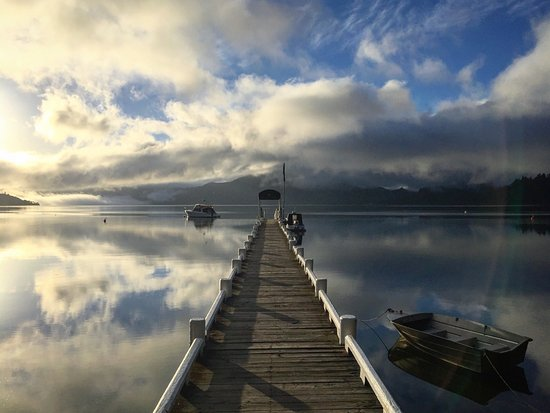 Marlborough Region, New Zealand: View over the Kenepuru Sound from the Raetihi jetty