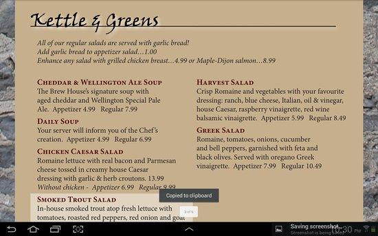 Fergus, Canadá: Pub menu