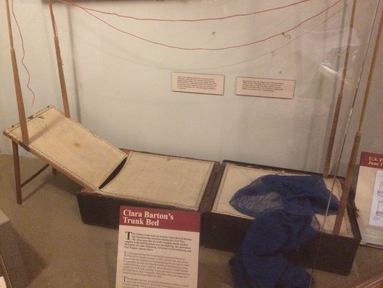Frederick, MD: A fascinating piece - Clara Barton's field trunk cot. Look at all the text around this one piece
