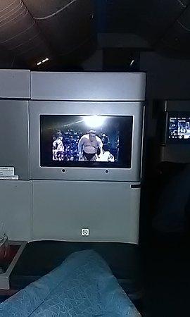 inflight satellite TV - watching NHK world SUMO - Picture of
