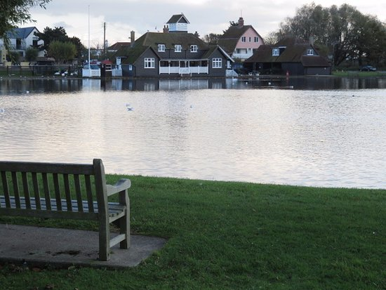 Thorpeness, UK: View to the tea shop