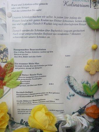 Hilders, Tyskland: Speisekarte 11/16
