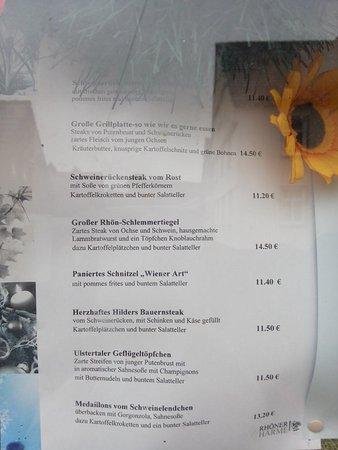 Hilders, Alemania: Speisekarte 11/16